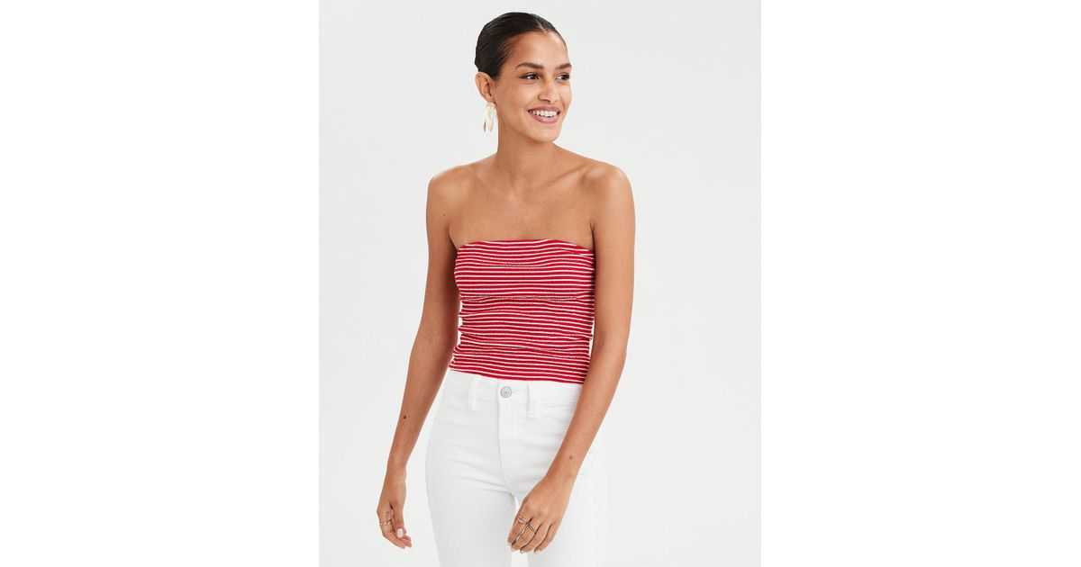 86bf285126a78 American Eagle Striped Smocked Tube Top in Red - Lyst