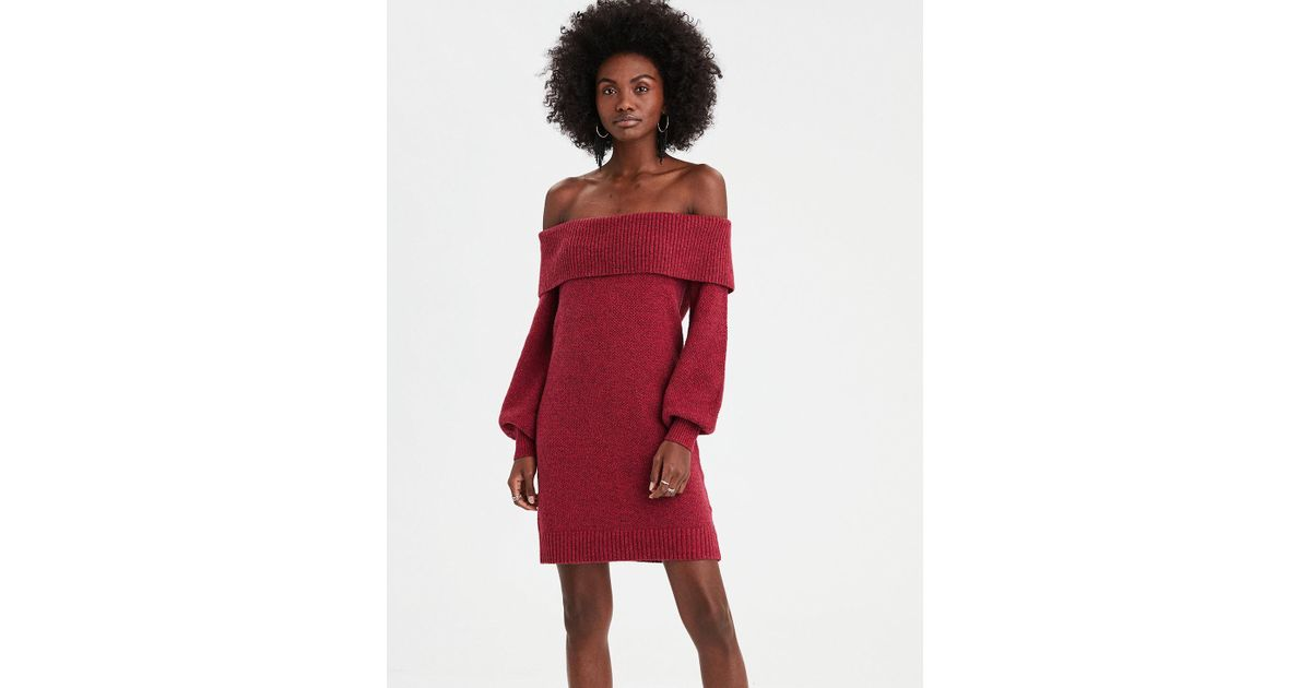 df821744765 Lyst - American Eagle Ae Off-the-shoulder Sweater Dress in Red