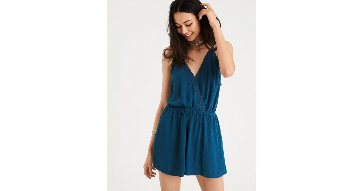 c6f9fb6b9cb1 Lyst - American Eagle Ae Lace Trim Halter Romper in Blue