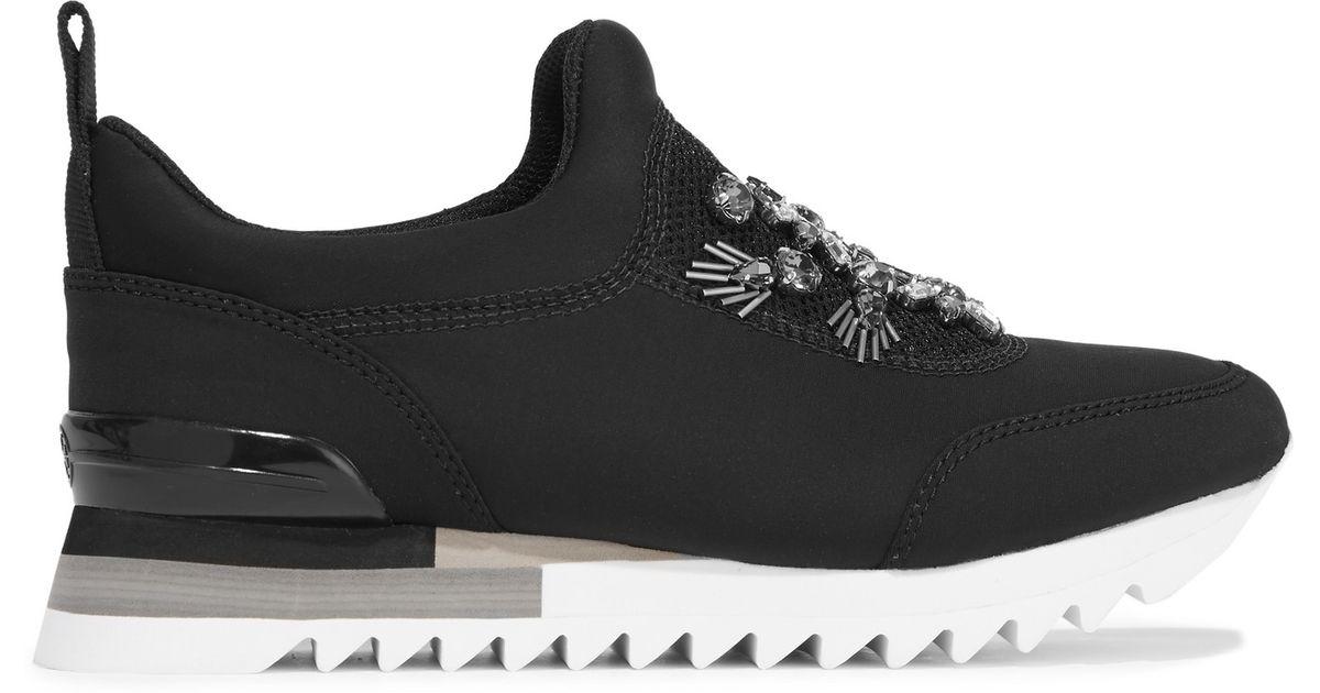 af40a824391f0e Lyst - Tory Burch Rosas Embellished Mesh-paneled Neoprene Slip-on Sneakers  in Black