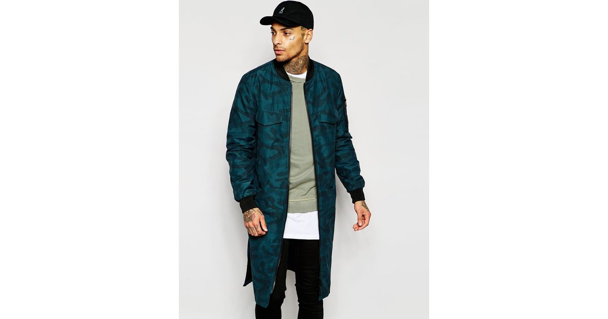 bb7d4c5b2cfb2 ASOS Extreme Longline Bomber Jacket In Camo Print in Green for Men - Lyst