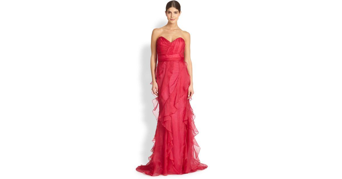 Lyst - Badgley Mischka Strapless Silk-Organza Gown in Red
