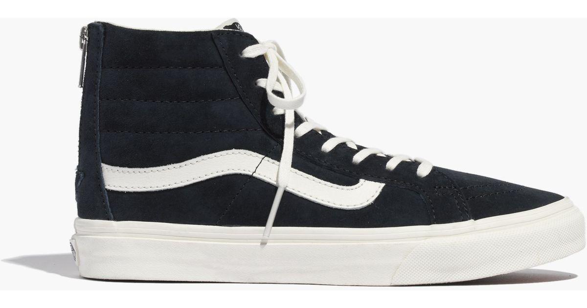 cdc21f84743e30 Madewell Vans® Sk8-Hi Slim Zip High-Top Sneakers In Navy Leather in Blue -  Lyst