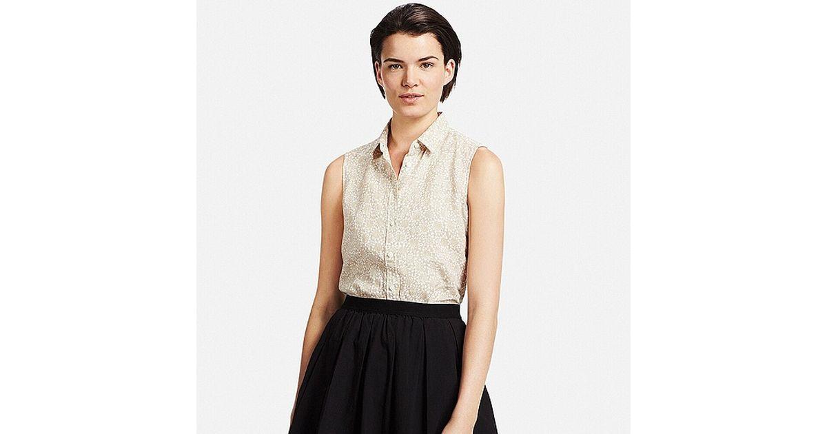Uniqlo Premium Linen Patterned Sleeveless Shirt In Beige