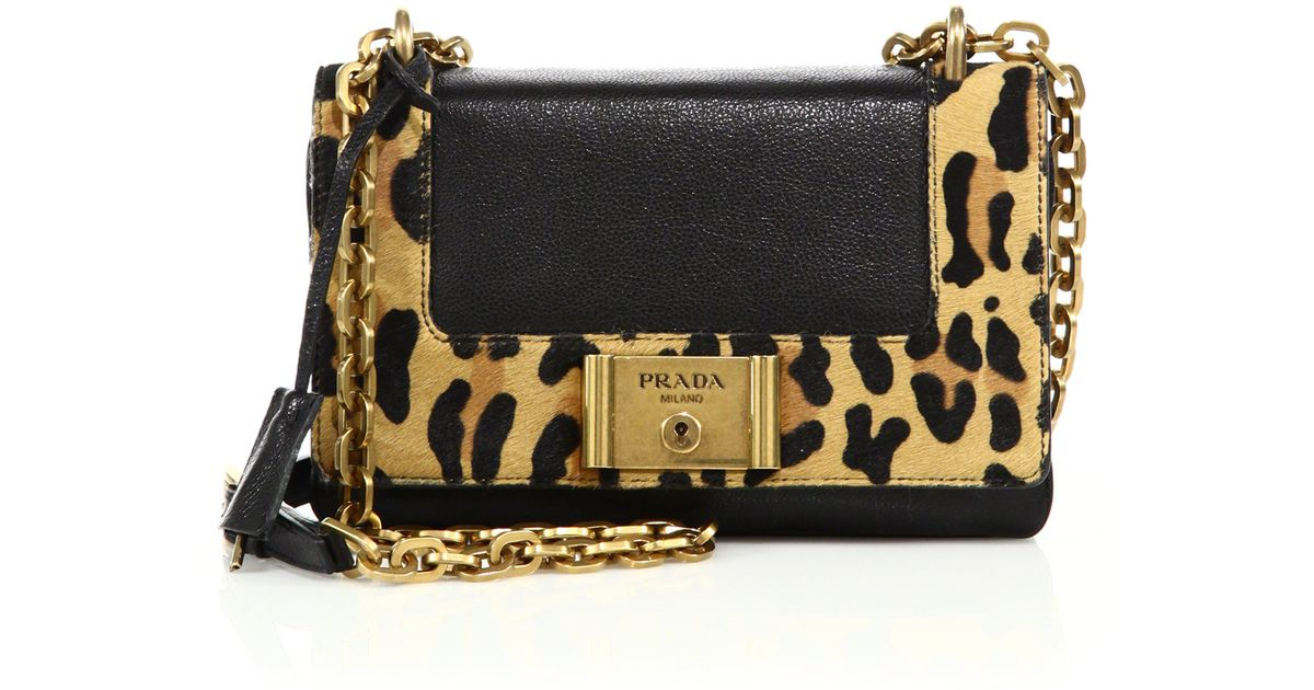 Prada Glace Leather \u0026amp; Leopard-print Calf Hair Chain Shoulder Bag ...
