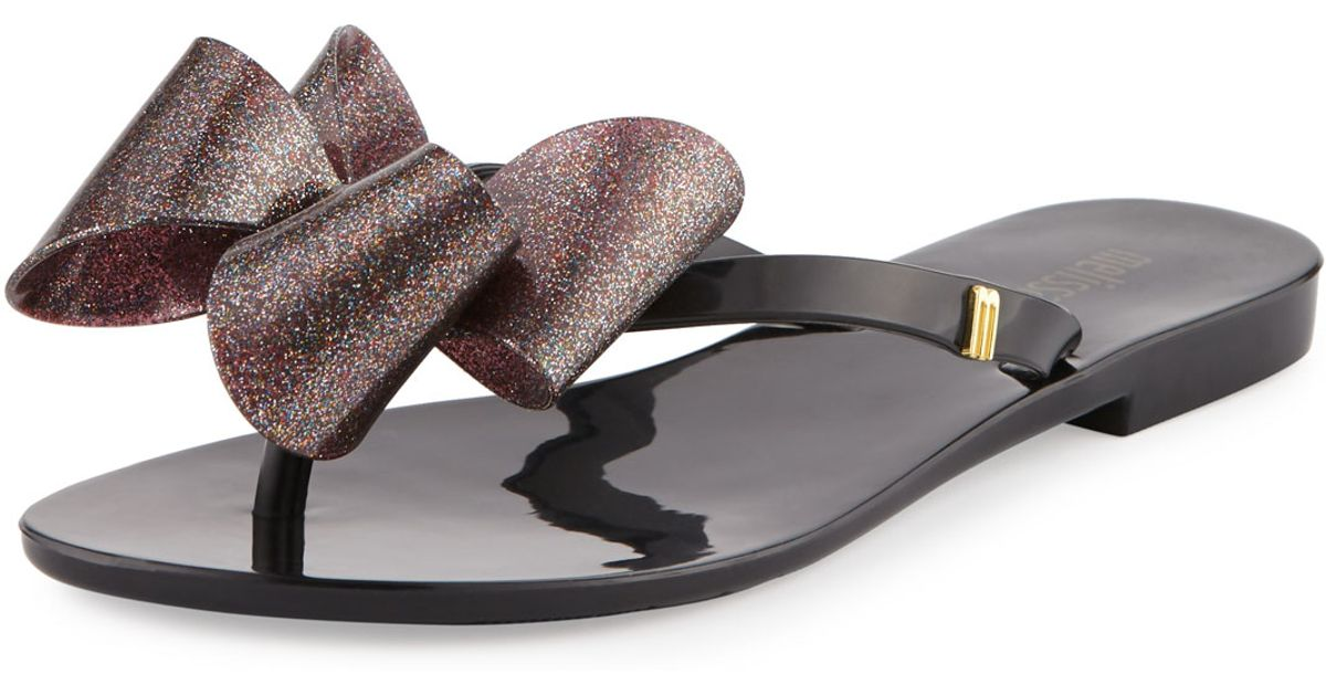 b025a08749172 Lyst - Melissa Harmonic Bow Jelly Thong Sandal in Black