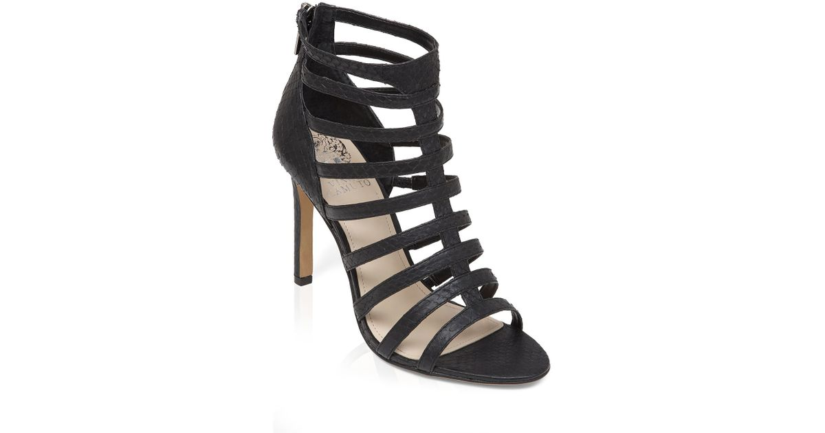 8402bdb6174 Lyst - Vince Camuto Open Toe Caged Gladiator Sandals - Kamella High Heel in  Black