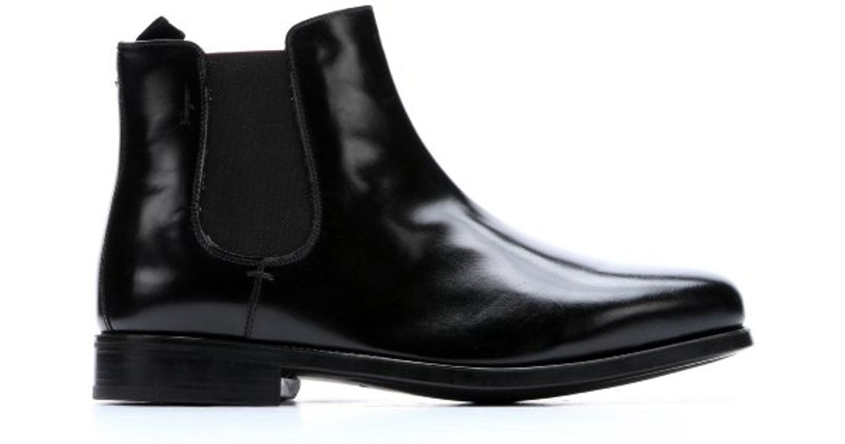 ferragamo black patent leather mid ankle boots in black