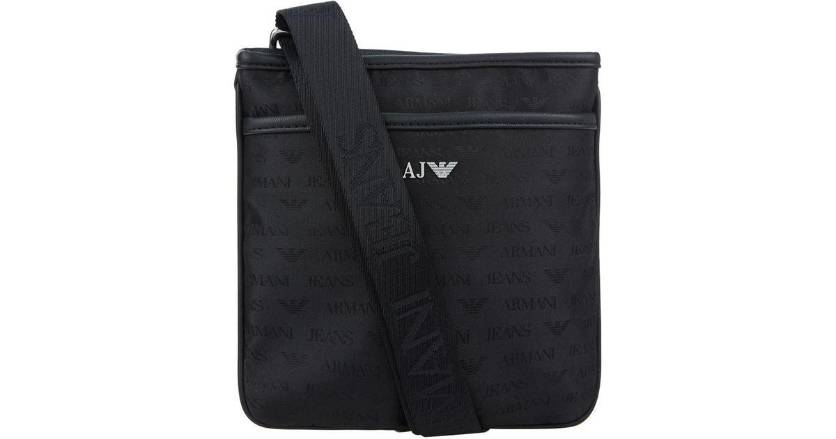 4cac107d4afd Armani Jeans Logo Print Stash Messenger Bag in Black for Men - Lyst