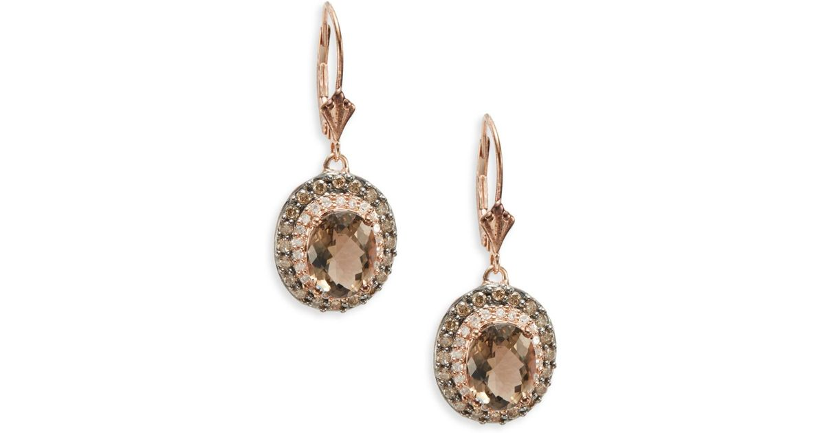 Lyst Effy Final Call Smoky Quartz White Diamond Brown 14k Rose Gold Drop Earrings In Pink