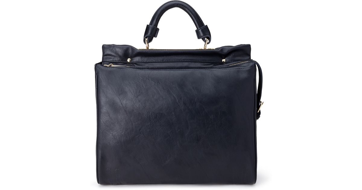 18b161117e6c Lyst - Forever 21 Structured Faux Leather Satchel in Blue