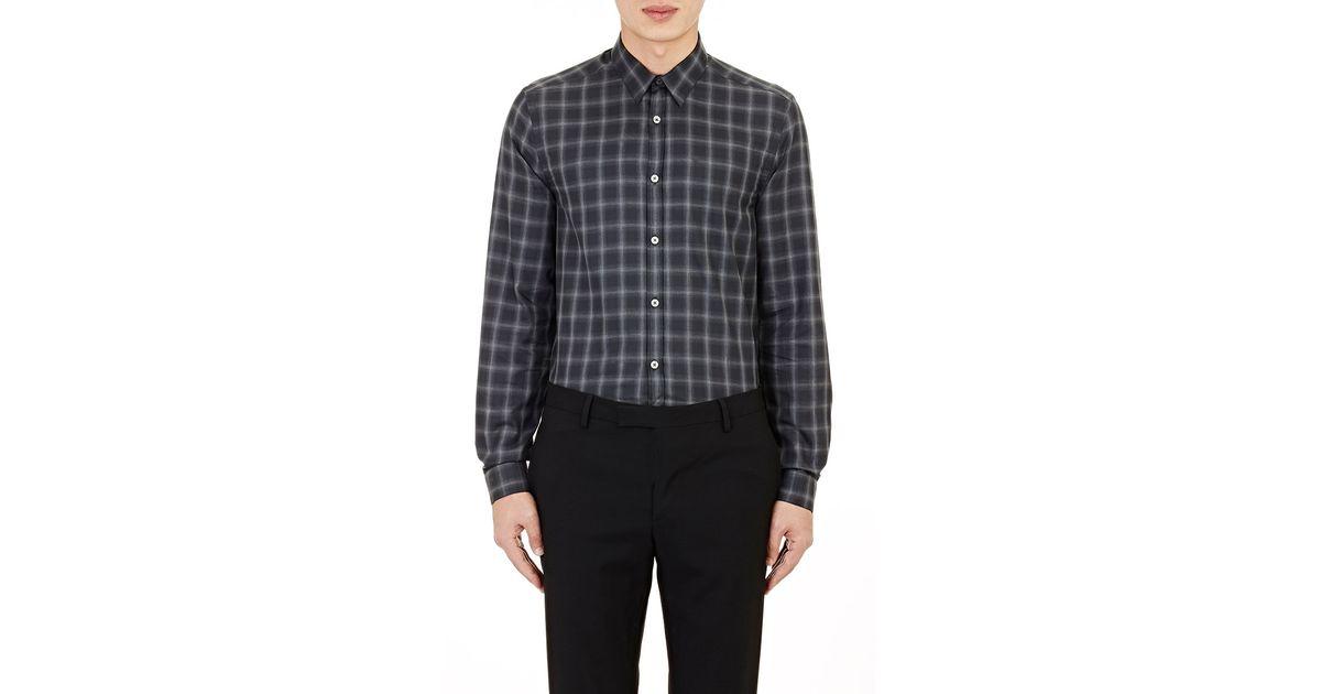 Lyst paul smith men 39 s lightweight flannel shirt in gray for Men s lightweight flannel shirts