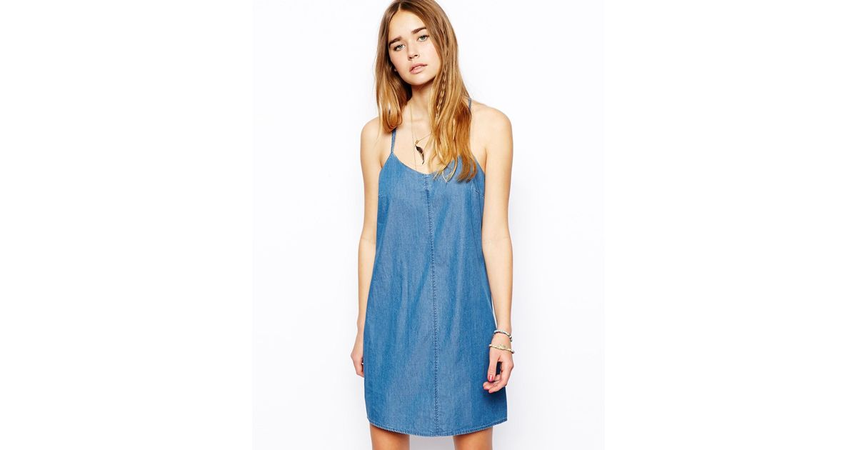 96c1372ab0 Lyst - ASOS Denim Cami Dress in Blue