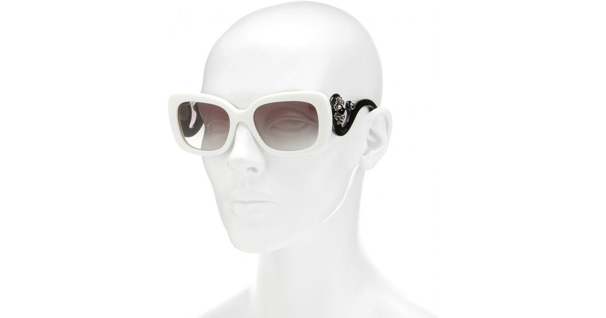 6379fa5742e Lyst - Prada Minimal Baroque Square-Frame Sunglasses in White
