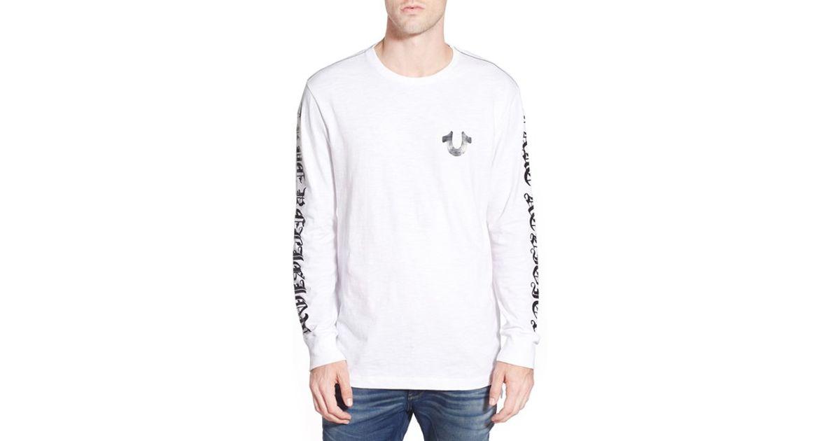 Lyst - True Religion Graphic Long Sleeve T-shirt in White for Men 0b8fd2f41e8