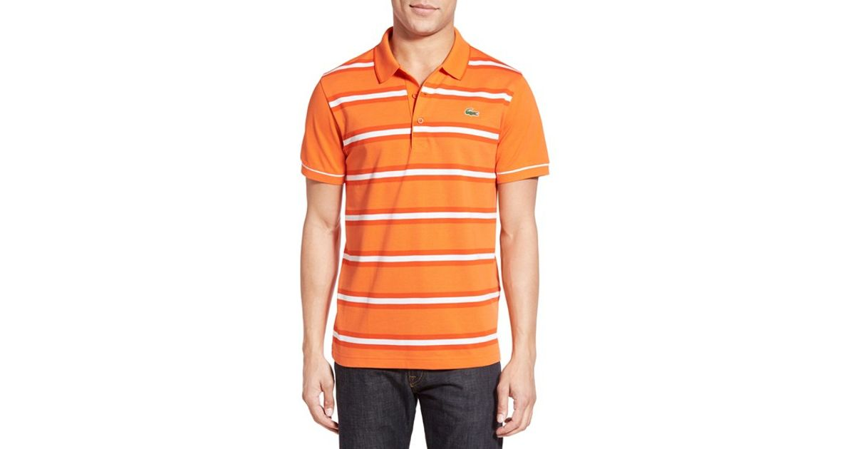 'super Stripe Polo Orange Pique For Light' Men Lyst Lacoste P8n0OkXNw