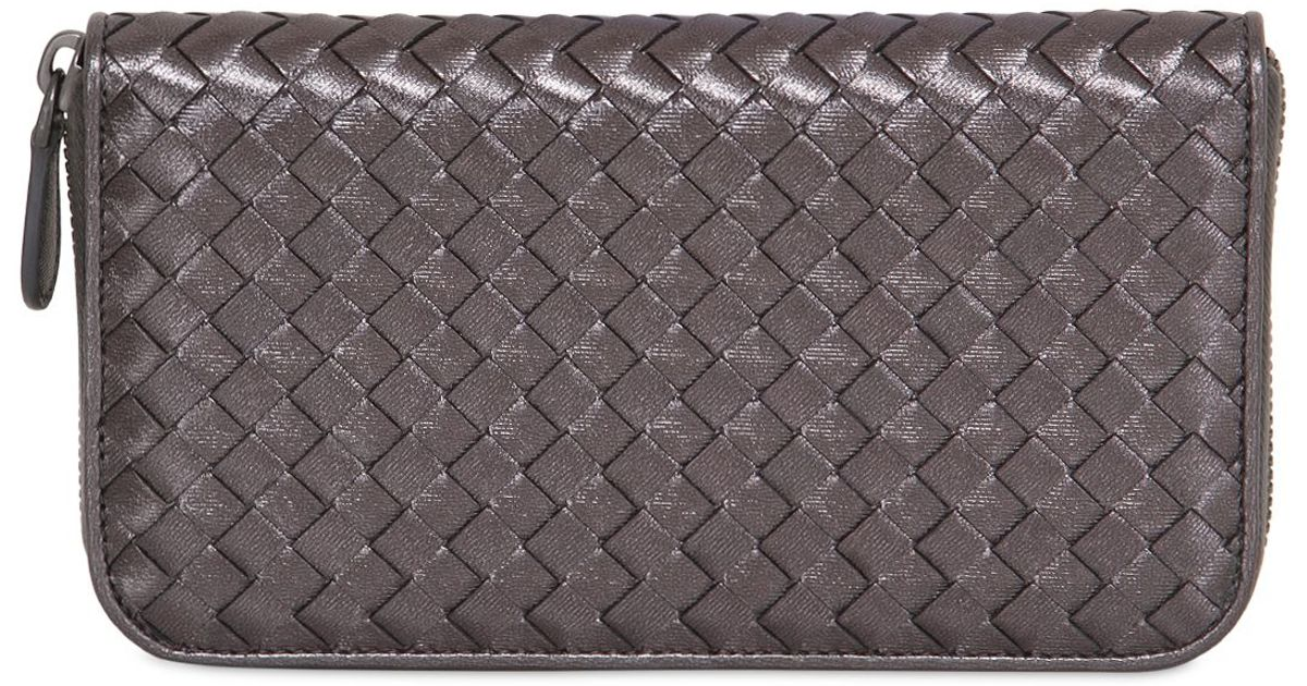 552dbe034ceb Lyst - Bottega Veneta Grosgrain Effect Brushed Leather Wallet in Metallic