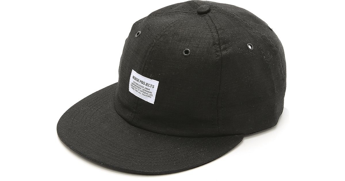 Lyst - Norse Projects Linen 6 Panel Cap in Black for Men c47ca98b89a