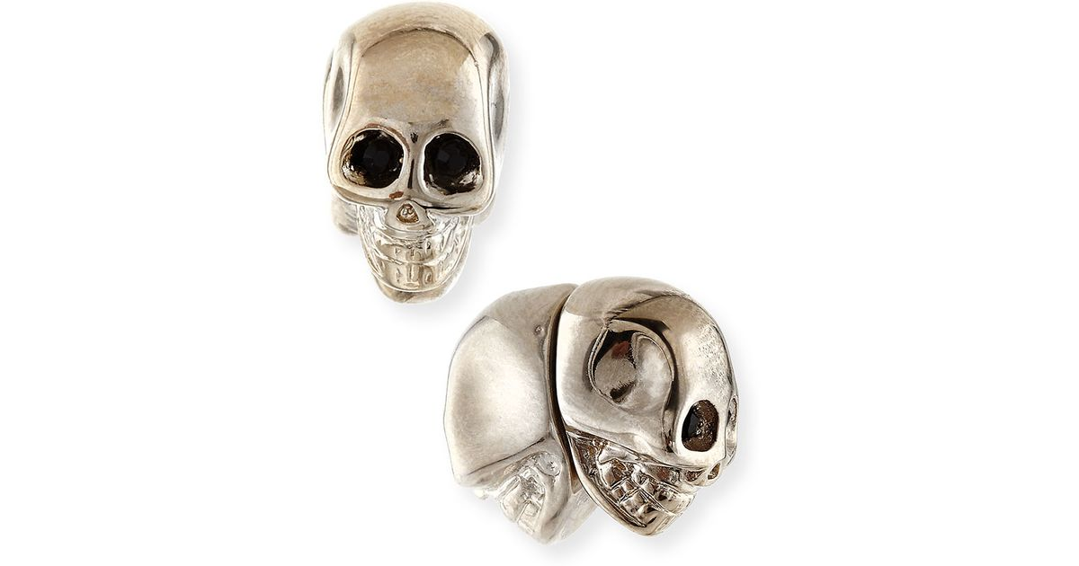 rhinestone stud earrings skeleton product gold skull zoom gothic