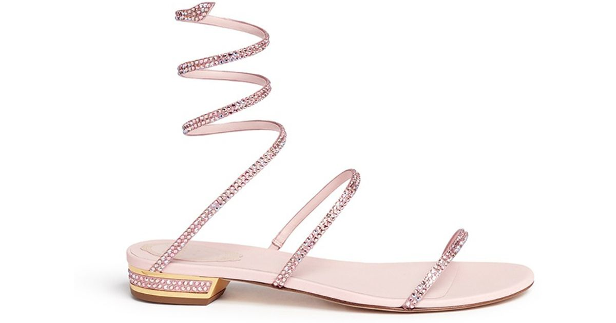 333c2ecfc9c Rene Caovilla  Snake  Strass Pavé Spring Coil Anklet Leather Sandals in  Pink - Lyst