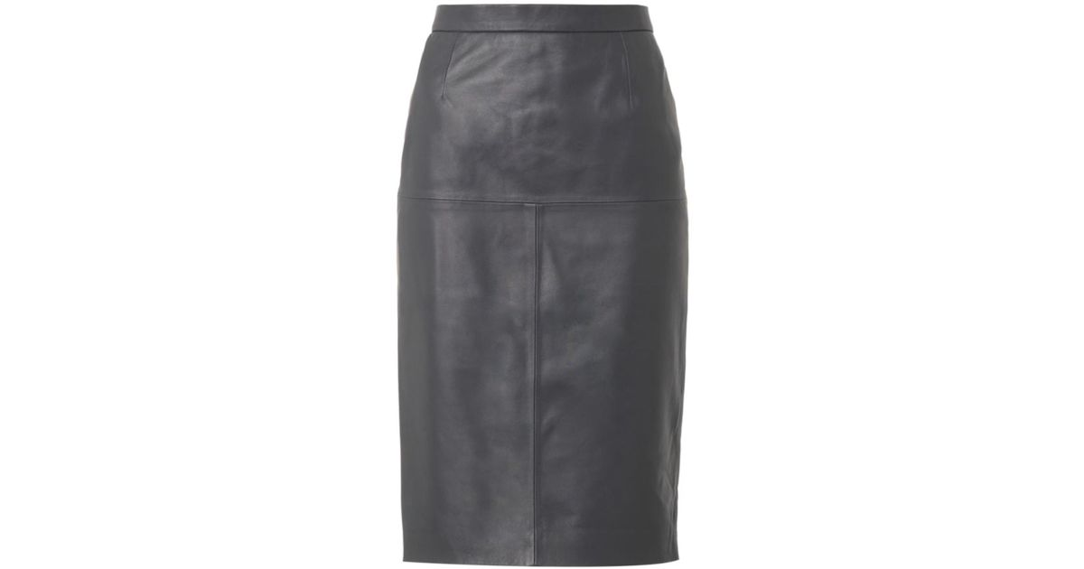 Freda Charcoal-grey Leather Pencil Skirt in Gray | Lyst
