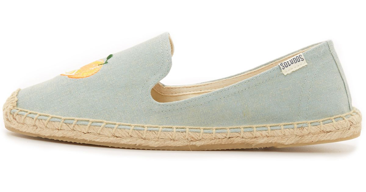 bc4b2907afa Lyst - Soludos Mimosa Embroidered Smoking Slipper Espadrilles in Gray
