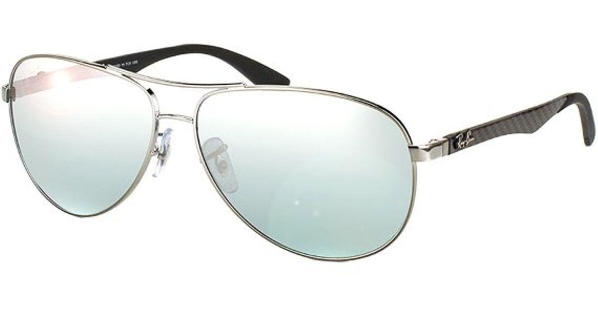 9370992863 ... usa ray ban rb 8313 004 k6 shiny gunmetal aviator carbon fibre  sunglasses 58mm in metallic