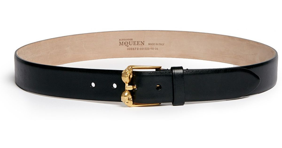 mcqueen skull buckle leather belt in