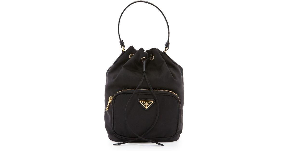 12a8d809e1 ... hot prada tessuto mini bucket crossbody bag in black lyst f63fd f6275