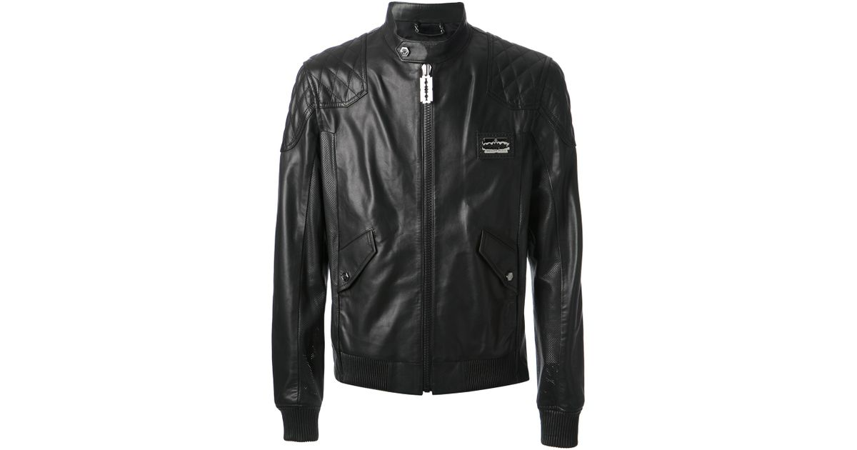 b3e14df314 Philipp Plein Leather Biker Jacket in Black for Men - Lyst