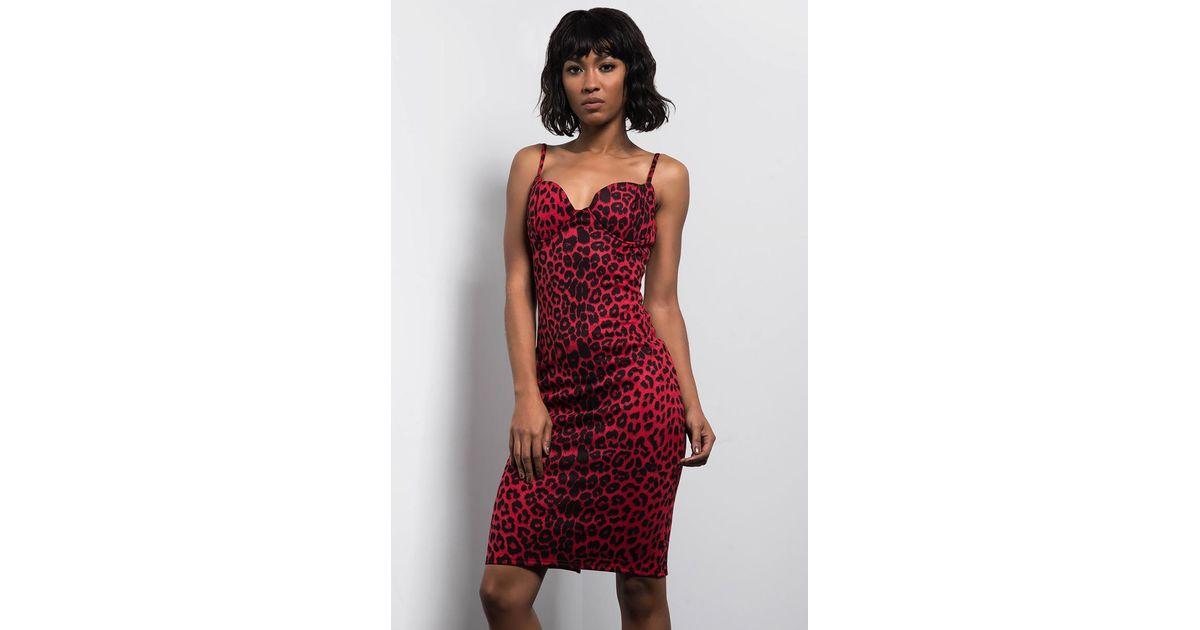 dd0039499652 Lyst - AKIRA Lucky Leopard Bodycon Midi Dress in Red