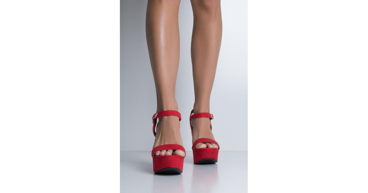 abf2316f0d8d Lyst - AKIRA It s Called Fashion Strappy Platform Sandals in Red