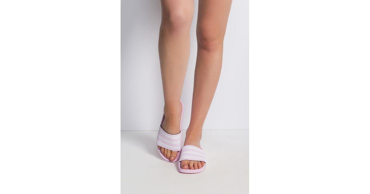 726778cb1 adidas Adilette Slide Pink Glitter in Pink - Lyst