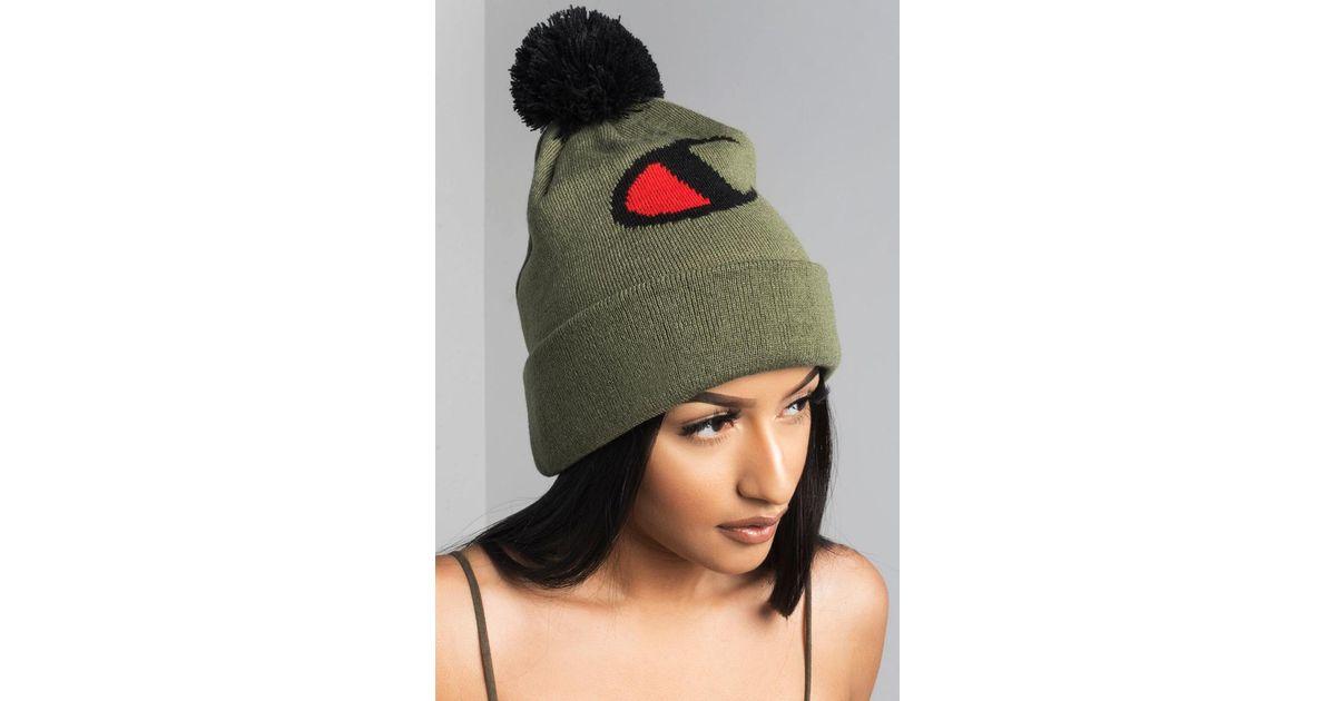 Lyst - Champion Knit Pom Pom Beanie in Green 3095cfb2200