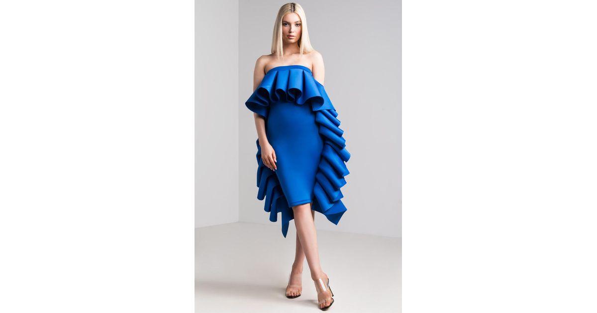 50225ae24439 AKIRA Olympia Ruffled Strapless Scuba Dress in Blue - Lyst