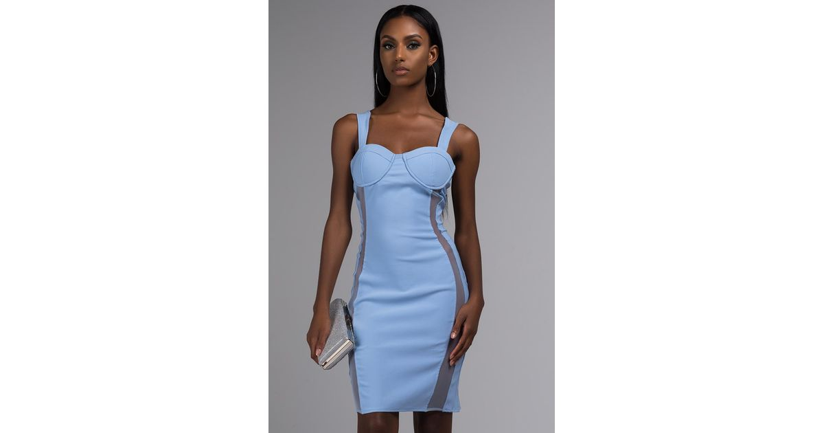 88708f371a5 AKIRA Bombshell Babe Mesh Panel Mini Dress in Blue - Lyst