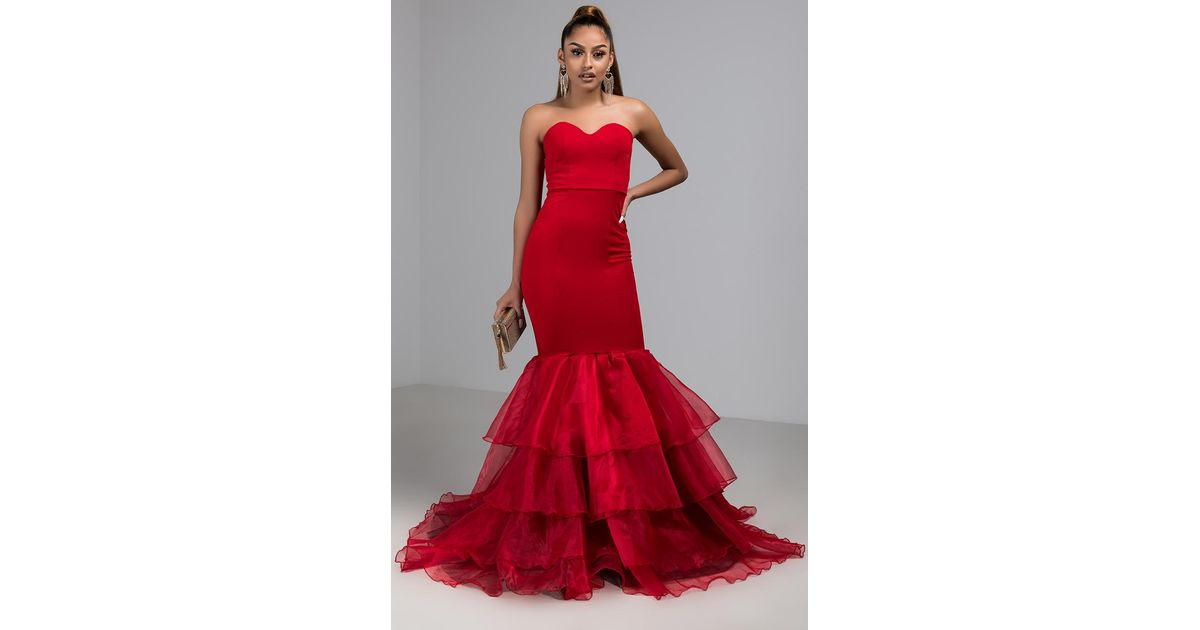 a863ad6dc547 AKIRA Used To Be So Easy Strapless Mermaid Gown in Red - Lyst
