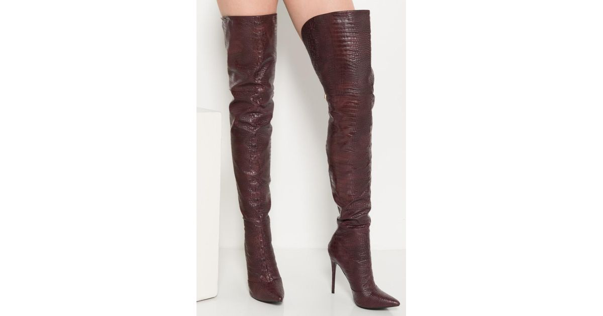 910e8827997 Akira - Purple Croc It To Me Heeled Over The Knee Boots - Lyst