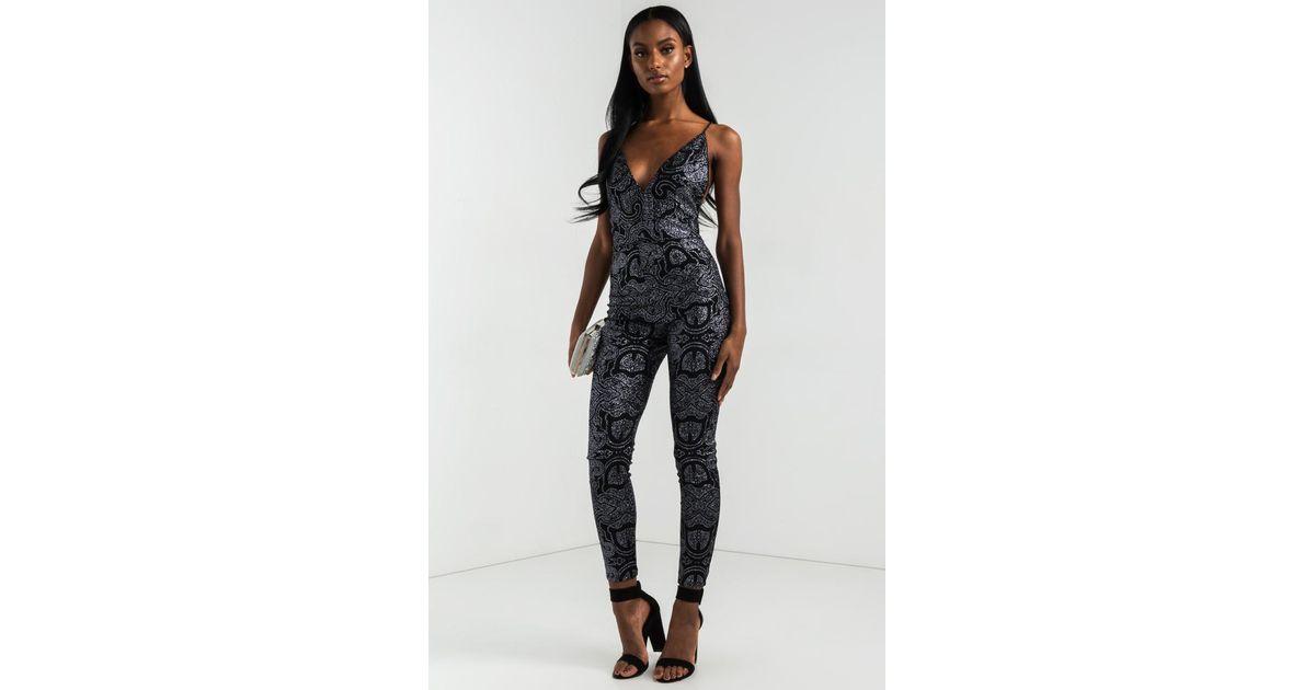 f0951071397 Lyst - AKIRA First Love Glitter Jumpsuit in Metallic