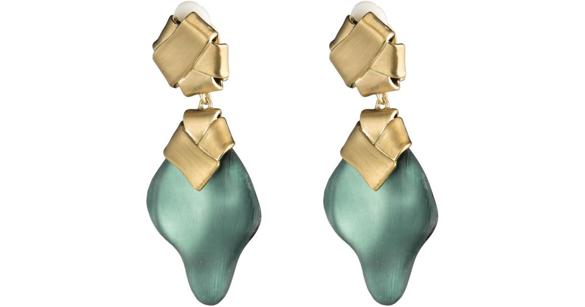 Alexis Bittar Folded Knot Dangling Clip Earring Teal blue sPAHaO4L