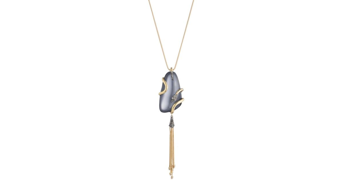 Alexis Bittar Wrapped Snake Pendant Necklace with Tassel eFd7XgwR
