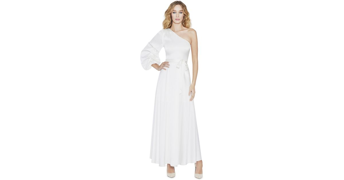 ee50dac1e2ad Alice + Olivia Jeanie One Shoulder Tack Sleeve Dress in White - Lyst