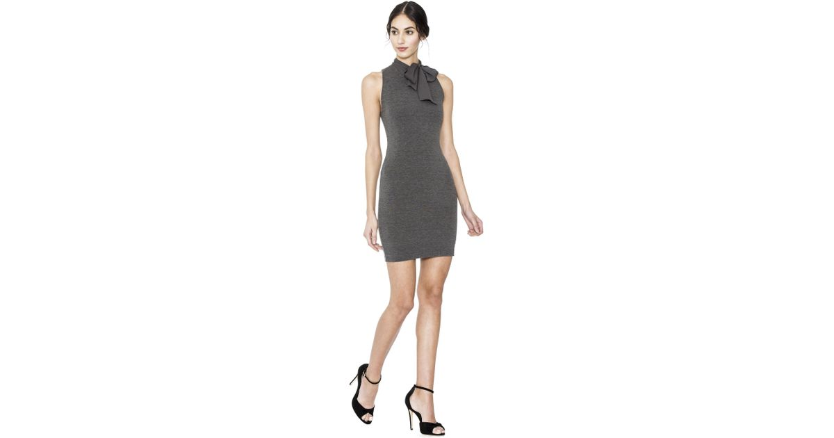 eef80606fdc Lyst - Alice + Olivia Mary Fitted Dress With Neck Tie in Gray