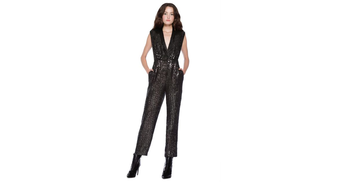 a62efbe3b60 Alice + Olivia Lyle Sequin Jumpsuit in Black - Lyst