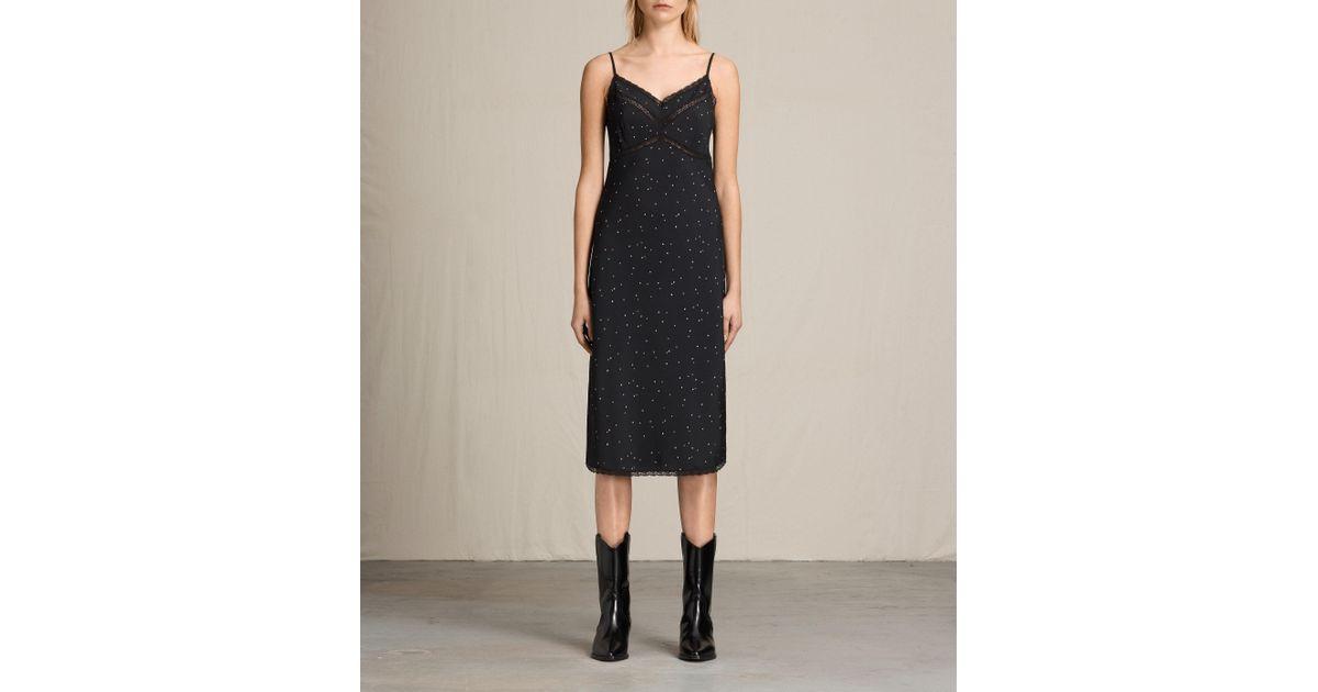 8f6d2e58282d AllSaints Star Print Slip Dress in Black - Lyst