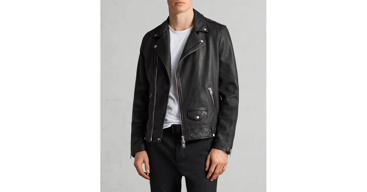 83632075ed4 Lyst - AllSaints Milo Leather Biker Jacket in Black for Men