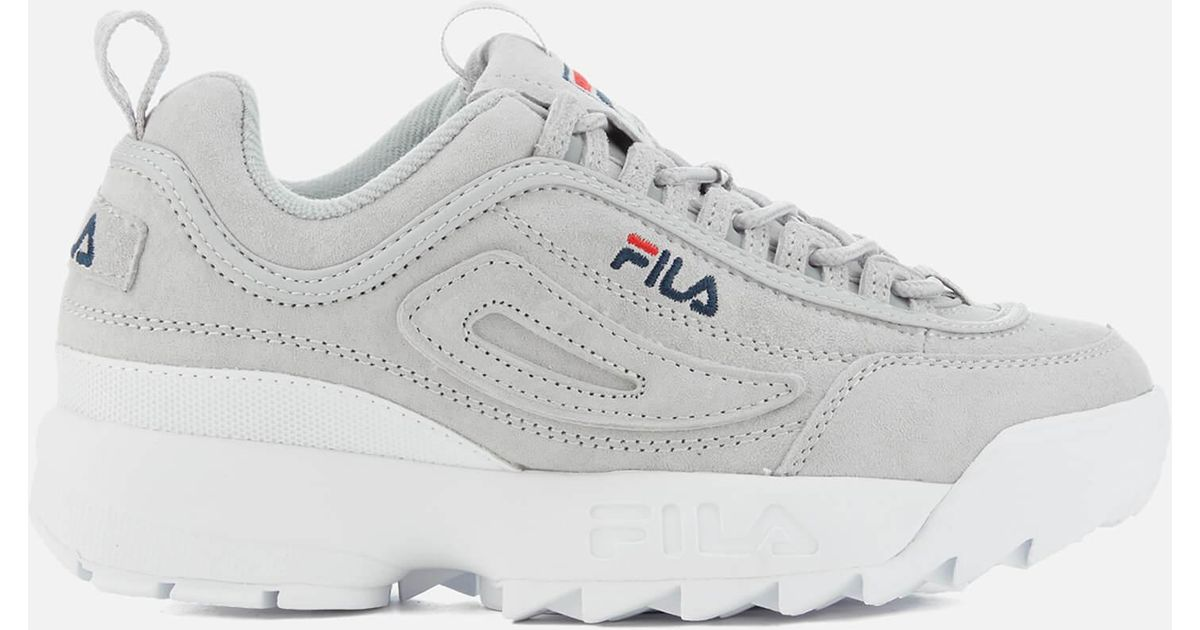lyst fila disruptor 2 premium suede trainers in gray for men. Black Bedroom Furniture Sets. Home Design Ideas
