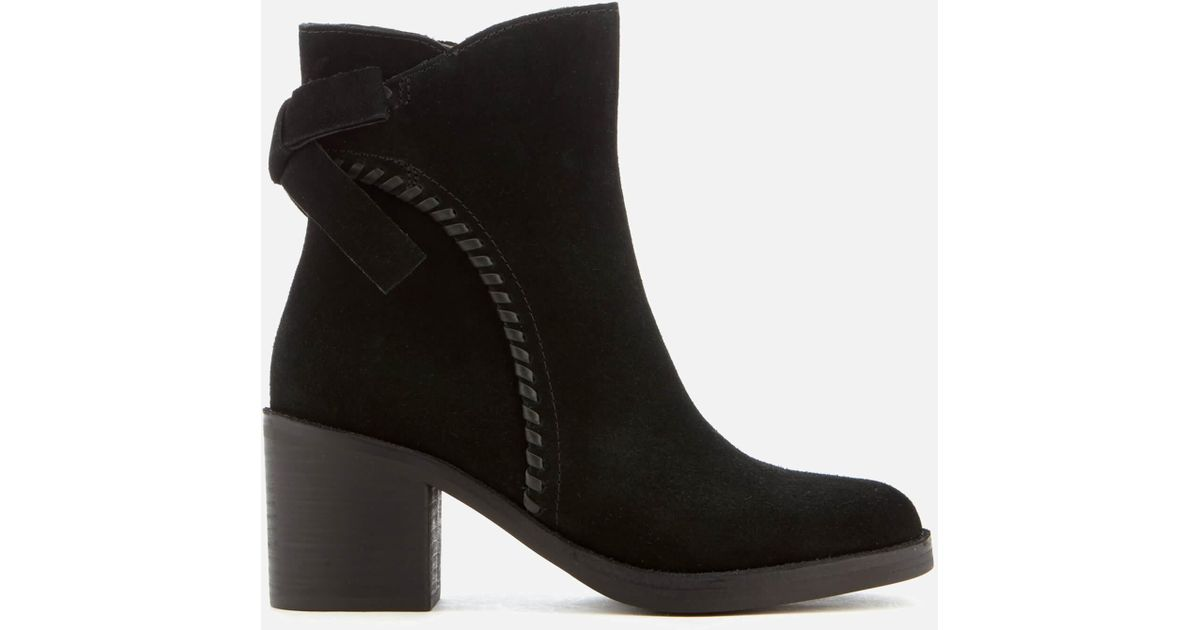57d945fe94f Ugg - Black Women's Fraise Whipstitch Suede Heeled Ankle Boots - Lyst