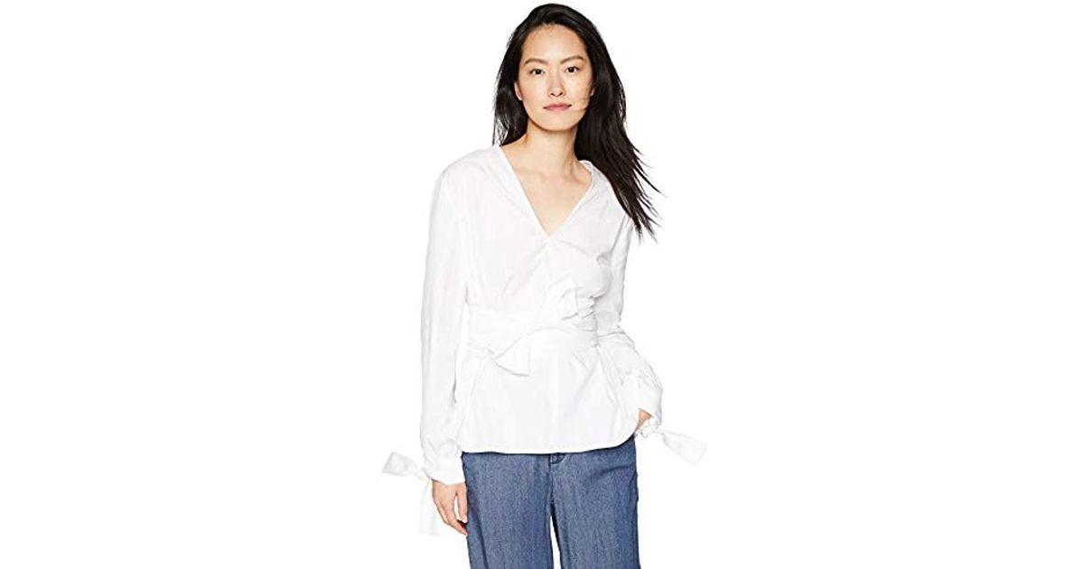 28b5a459f3 Lyst - Finders Keepers Fleeting Obi Tie Belt Cotton Blouse Longsleeve Top,  in White