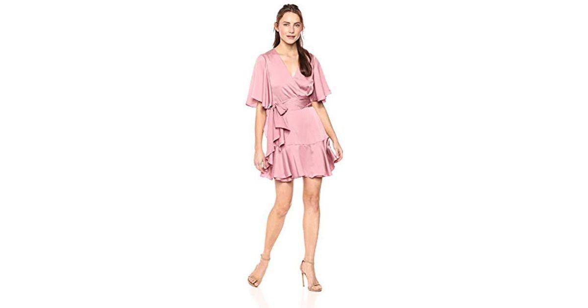 997796ff72d7 Keepsake Breathe Flutter Sleeve Draped Short Wrap Dress in Pink - Lyst